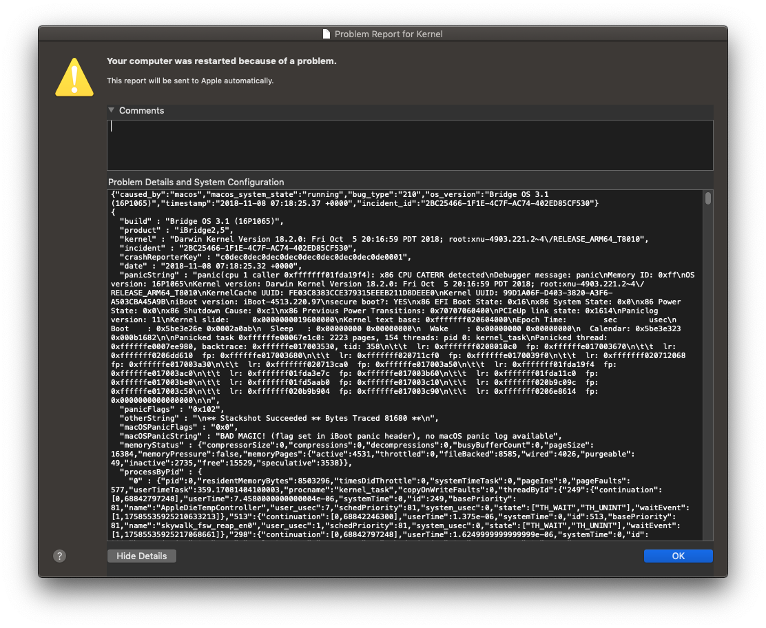 Any T2-related crashes with 2018 Mini? | MacRumors Forums