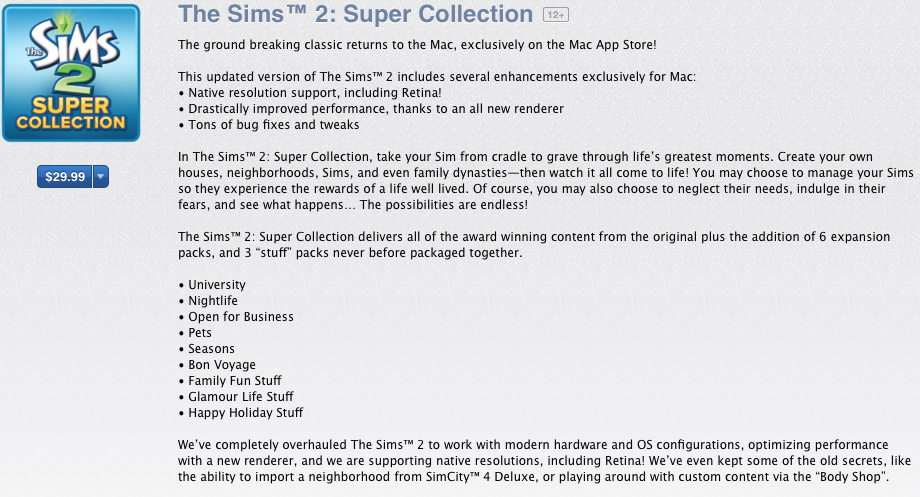 The Sims For Mac App Store