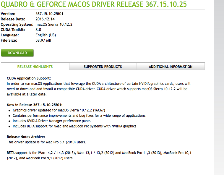 New NVIDIA Drivers for 10 12 2 (16C67) | MacRumors Forums