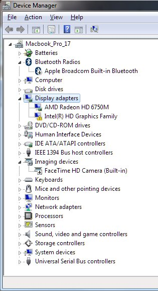 Graphics switching in Windows 7 on Macbook pro 2011 17