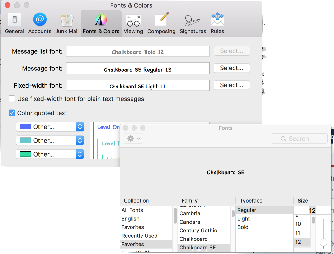 How to increase font size in apple mail