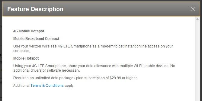 Verizon unlimited plan hotspot = $30 unlimited 4g hotspot