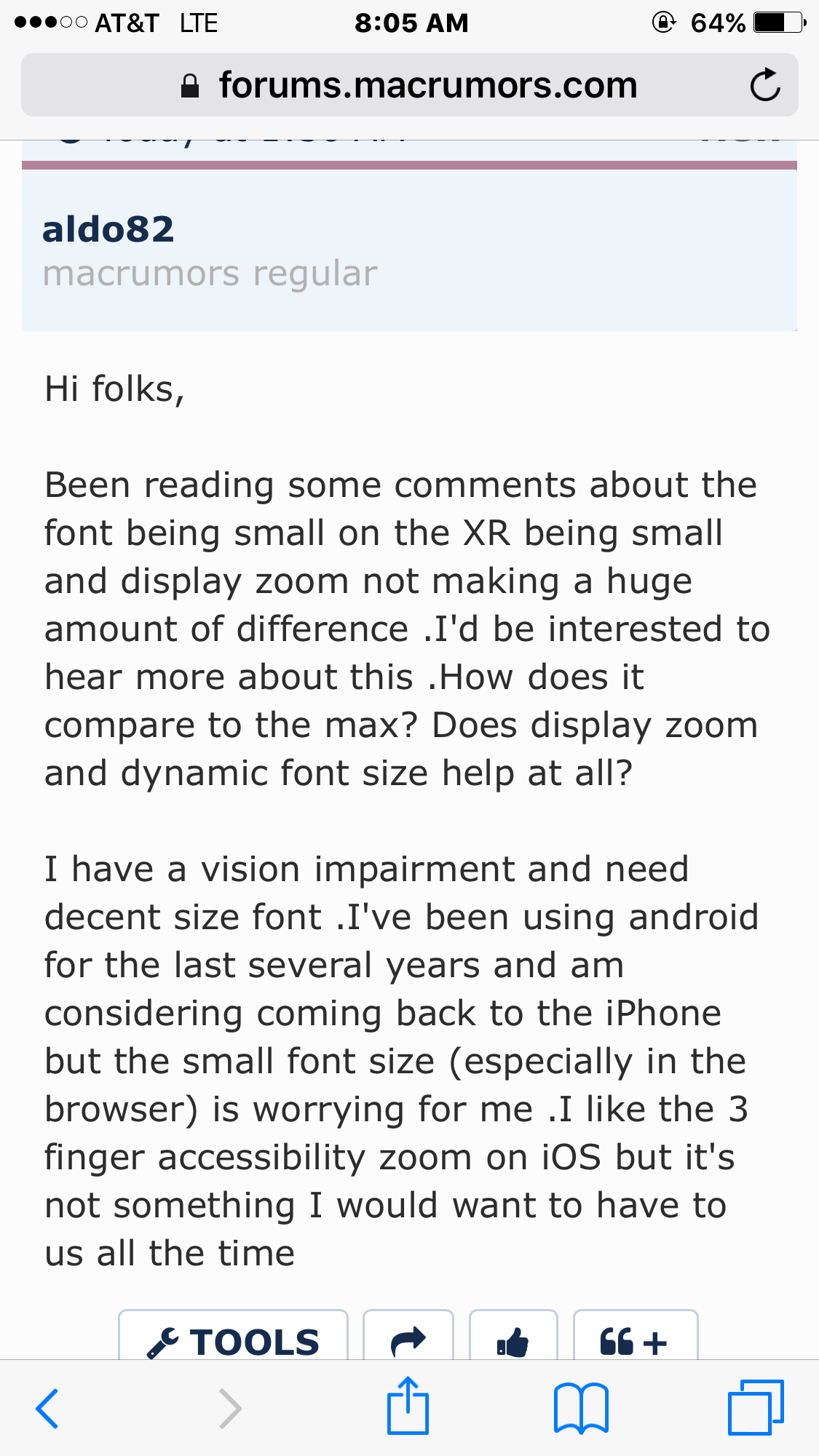 iPhone XR - XR font size | MacRumors Forums