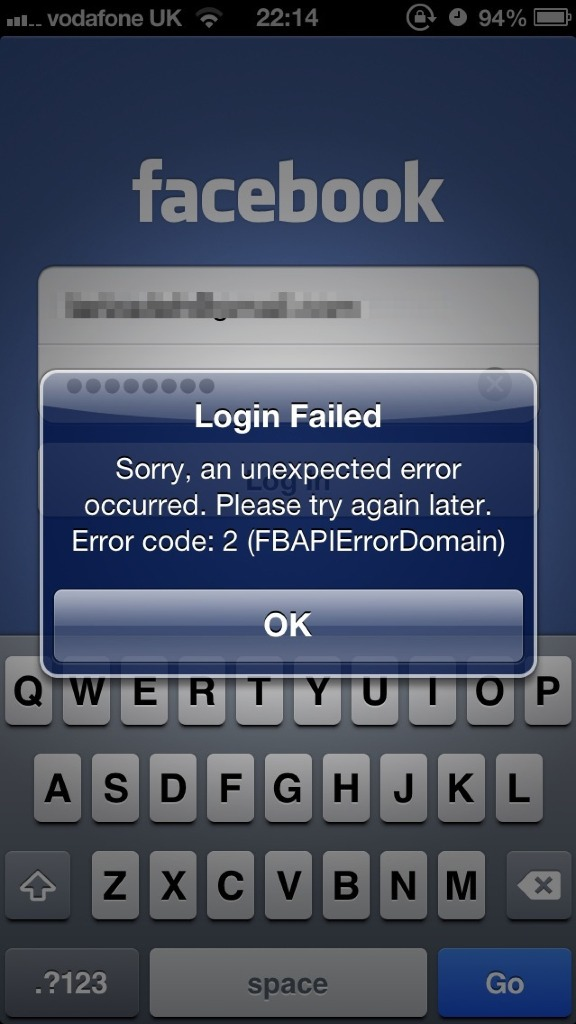 facebook login failed try later