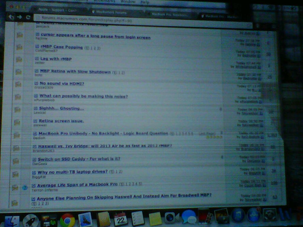 Mac Retina display with colourful horizontal/vertical lines