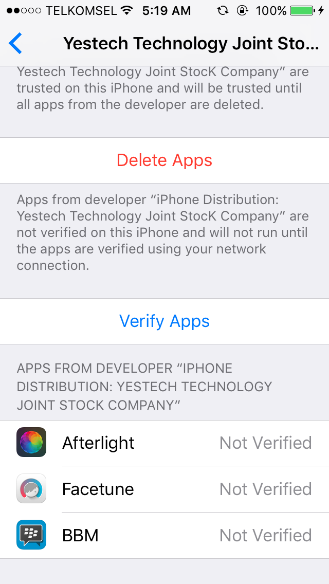 Verify Apps Not Working