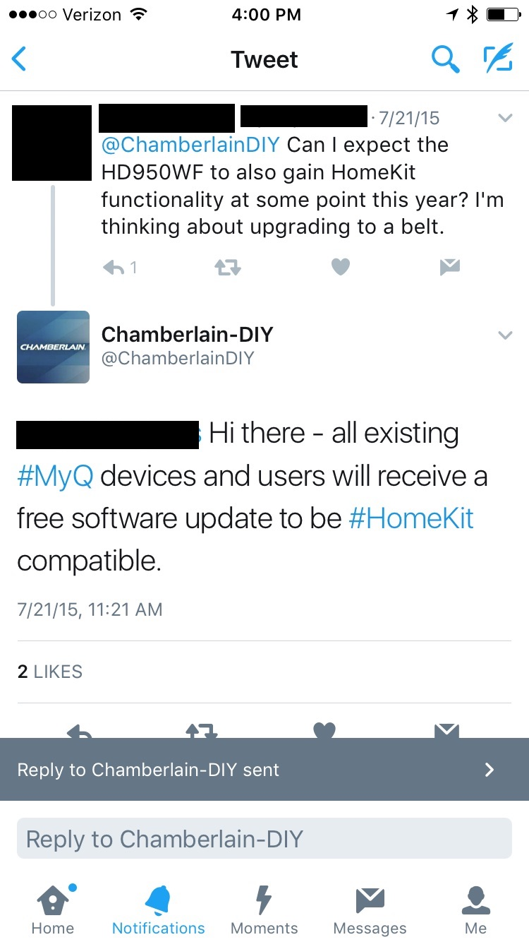 review chamberlain s myq garage and home bridge add homekit support