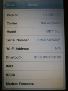 iPhone - iPhone 3G No IMEI, No Baseband, No Wifi, No