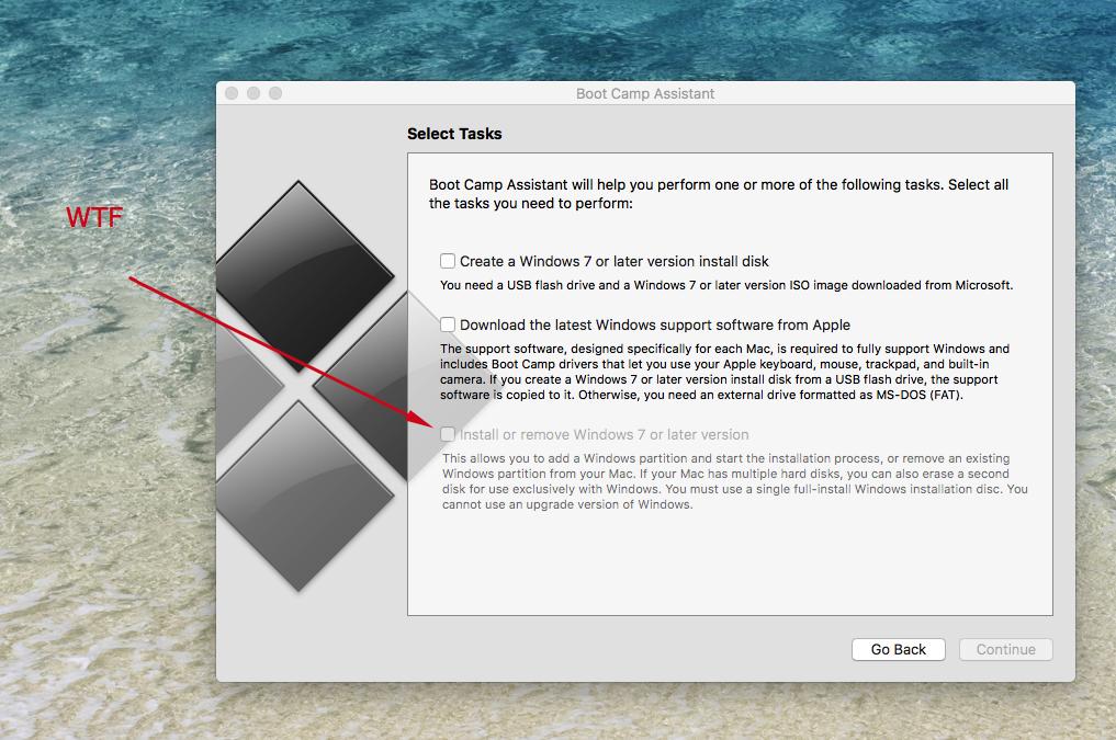 boot camp install windows 7