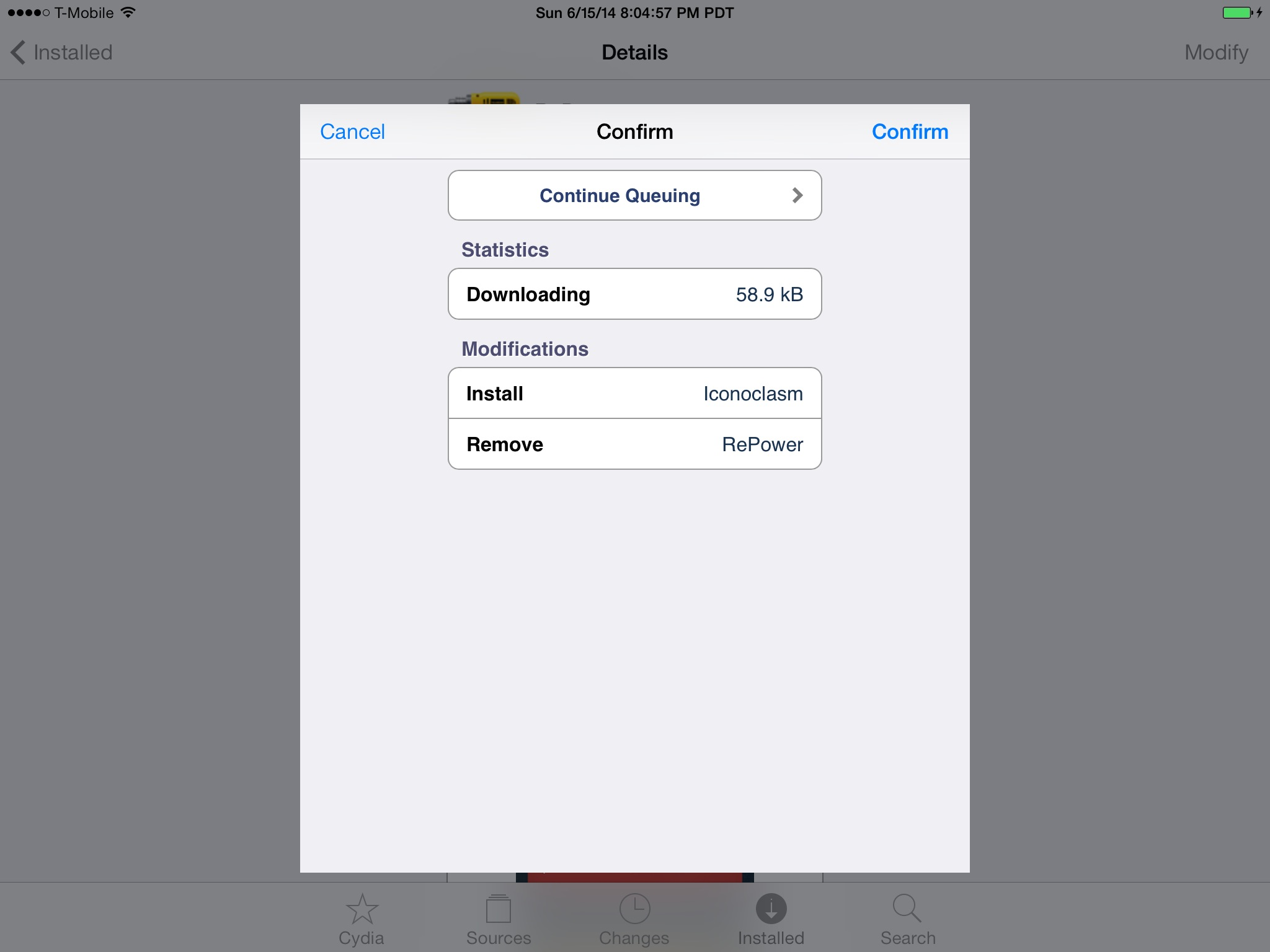 iPad - Keep getting error when trying to install\remove cydia tweaks
