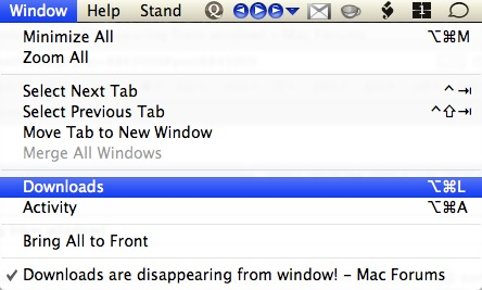 Downloads are disappearing from window! | MacRumors Forums