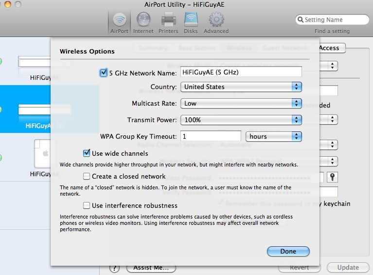 Airport Extreme 5GHz mode? | MacRumors Forums