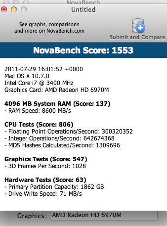 2009 i7 2 8 vs 2011 i7 3 4 w/ encoding and FCE  NovaBench