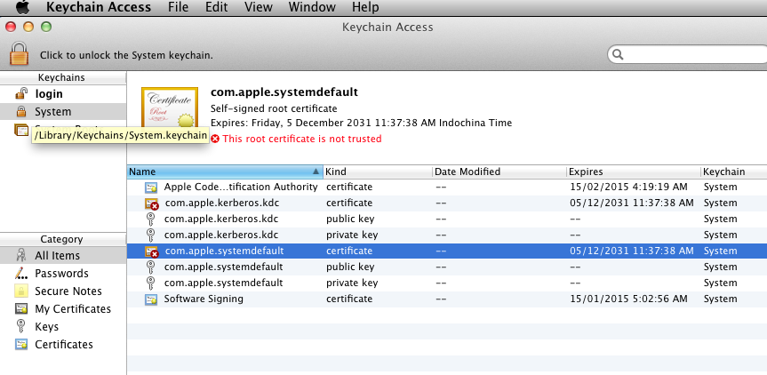 Not Trusted Apple Root Certificates Macrumors Forums