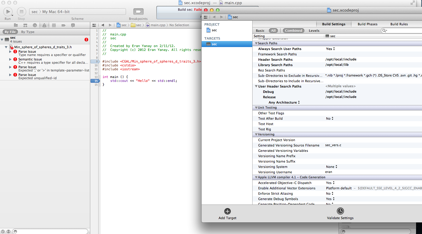 Issues with XCode & CGAL | MacRumors Forums