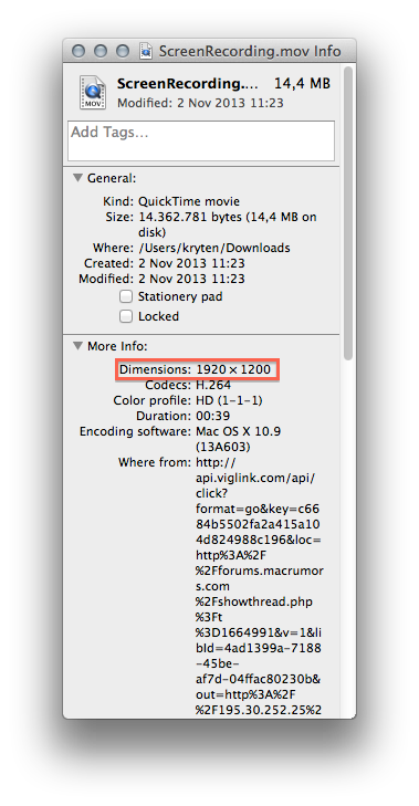 How to list movies with a certain resolution in finder