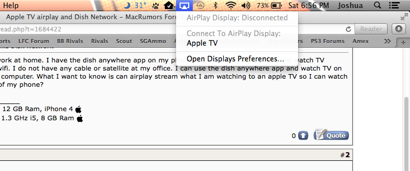 Apple TV airplay and Dish Network | MacRumors Forums