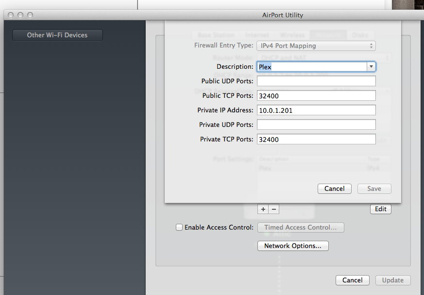 Plex on iOS7 remotely via home MacPro & Airport: how to PORT