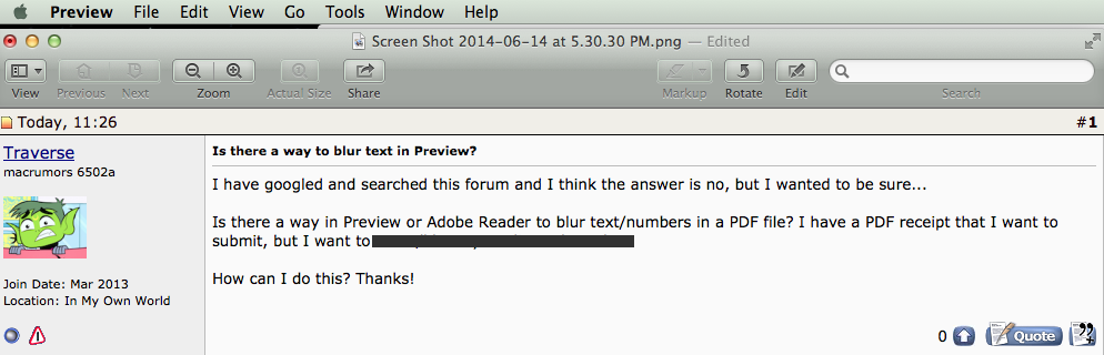 Is there a way to blur text in Preview?   MacRumors Forums