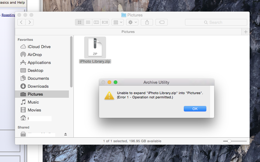 Resolved - Zipped Iphoto Library, Fresh Installed osx, and