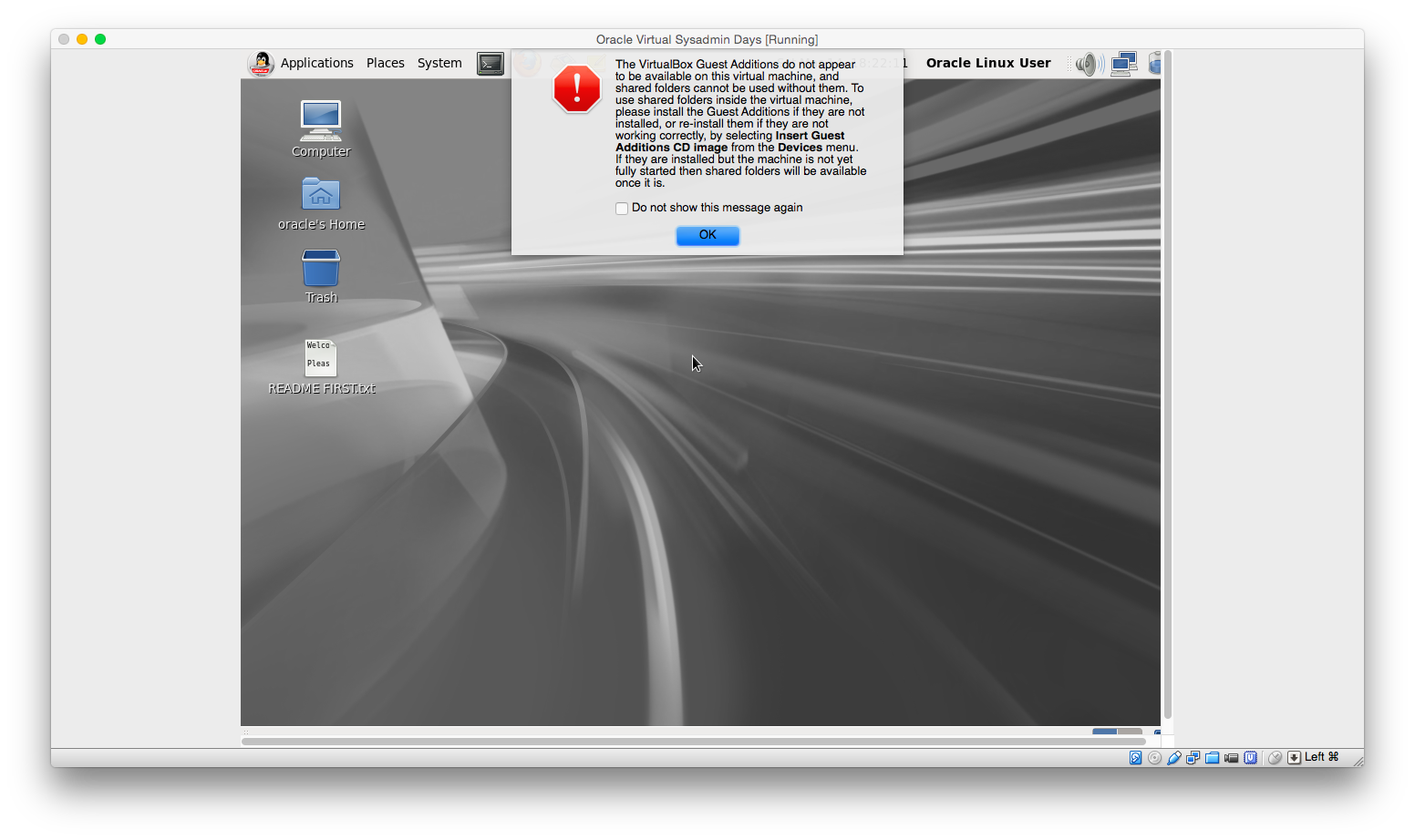 Oracle_Linux OS on Oracle VirtualBox on my Mac OS X