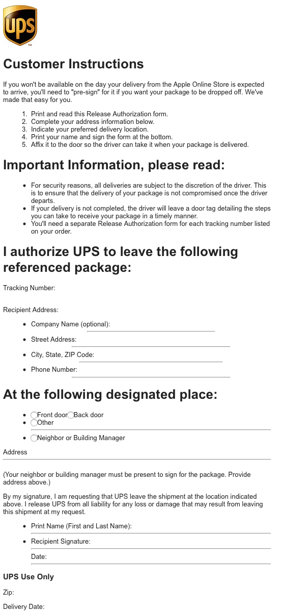 UPS Signature PreAuthorization MacRumors Forums