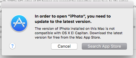 EL Capitan: iPhoto no longer available/ cannot upgrade or