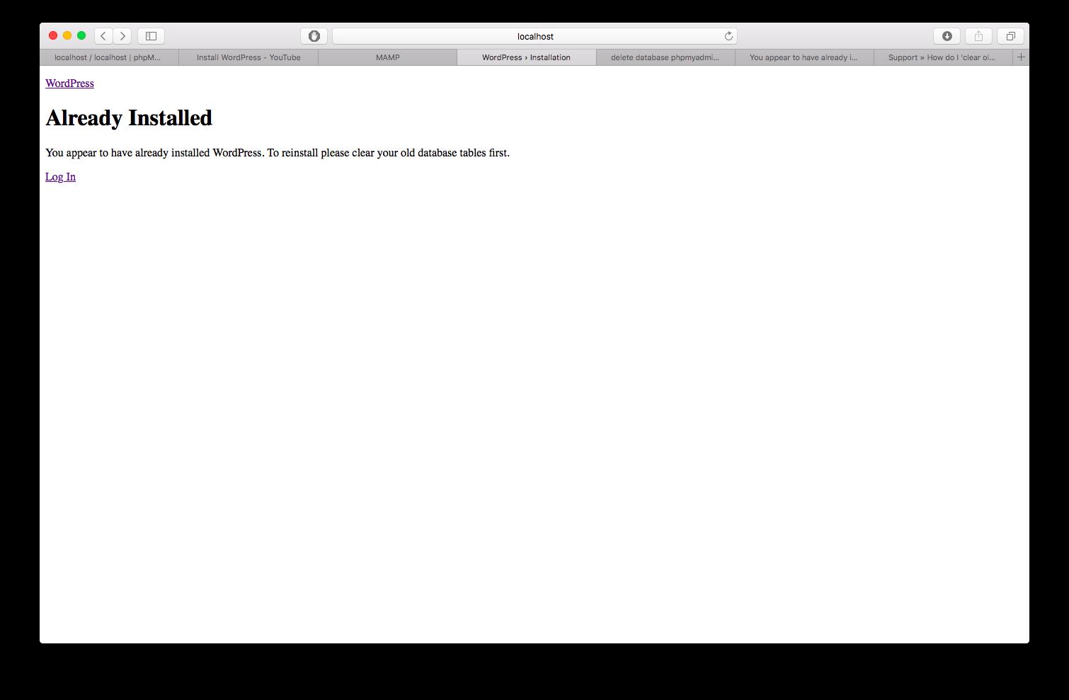 Resolved - Wordpress Already installed | MacRumors Forums