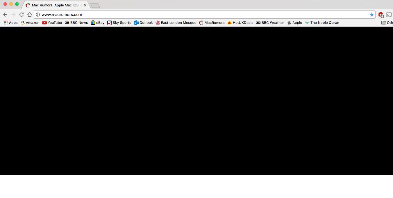 chrome showing black screen mac