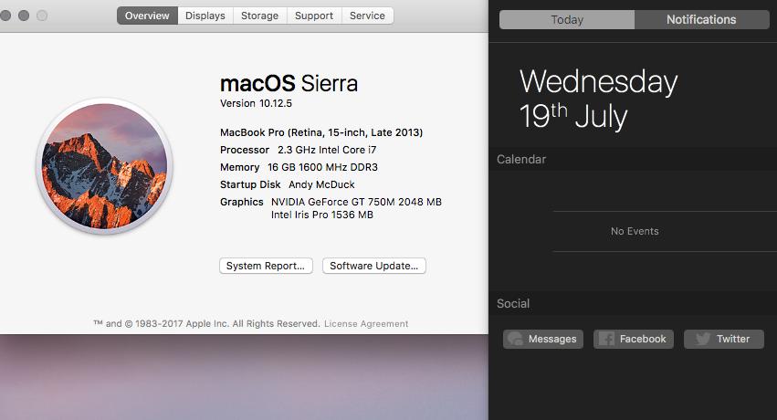 How do you get a 'dark' notification centre in Sierra
