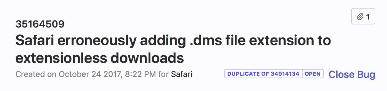 Safari erroneously adding  dms extension to downloads