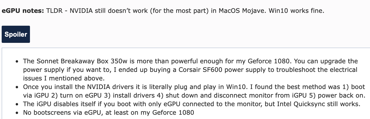 I extensively benchmarked my 2018 Mac Mini+eGPU against my
