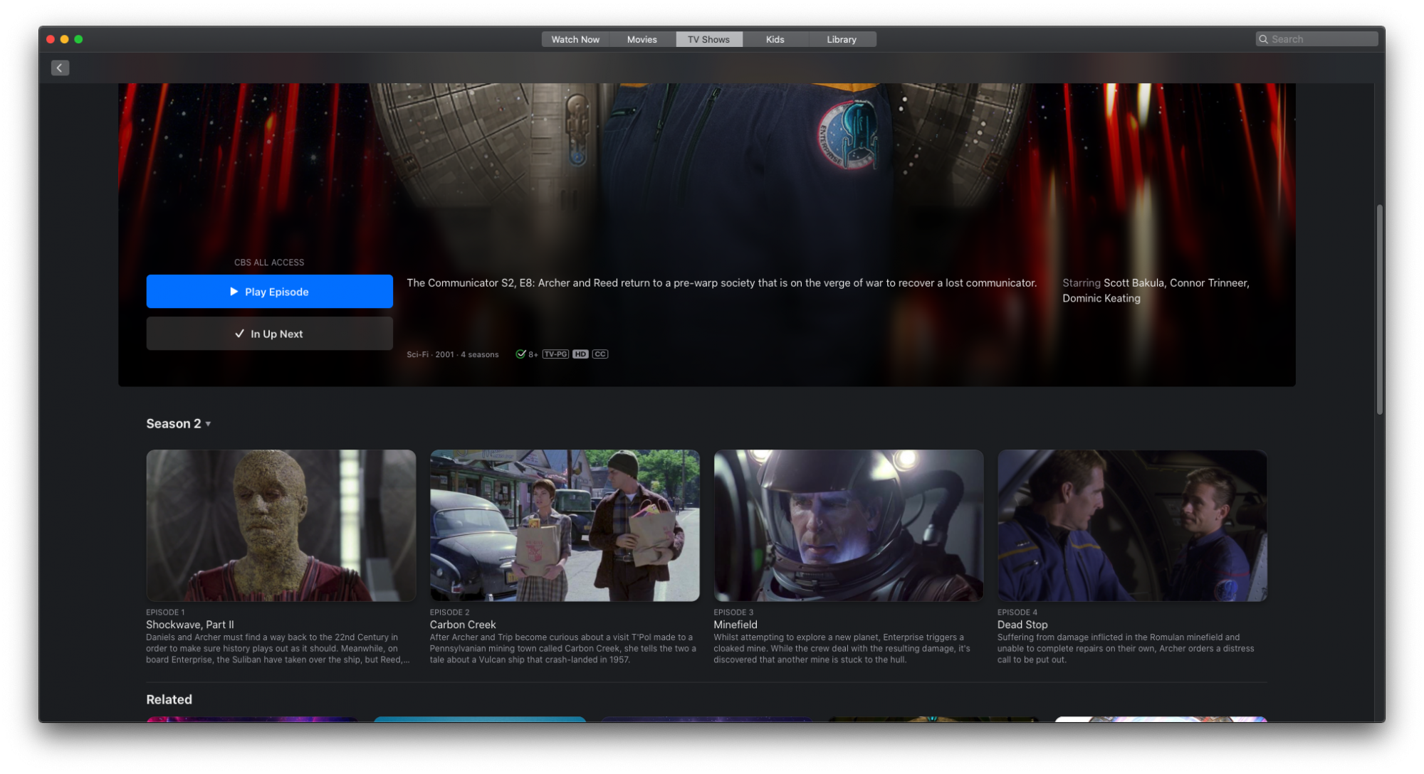 How to watch specific episode of tv show on Mac OS Apple TV app?