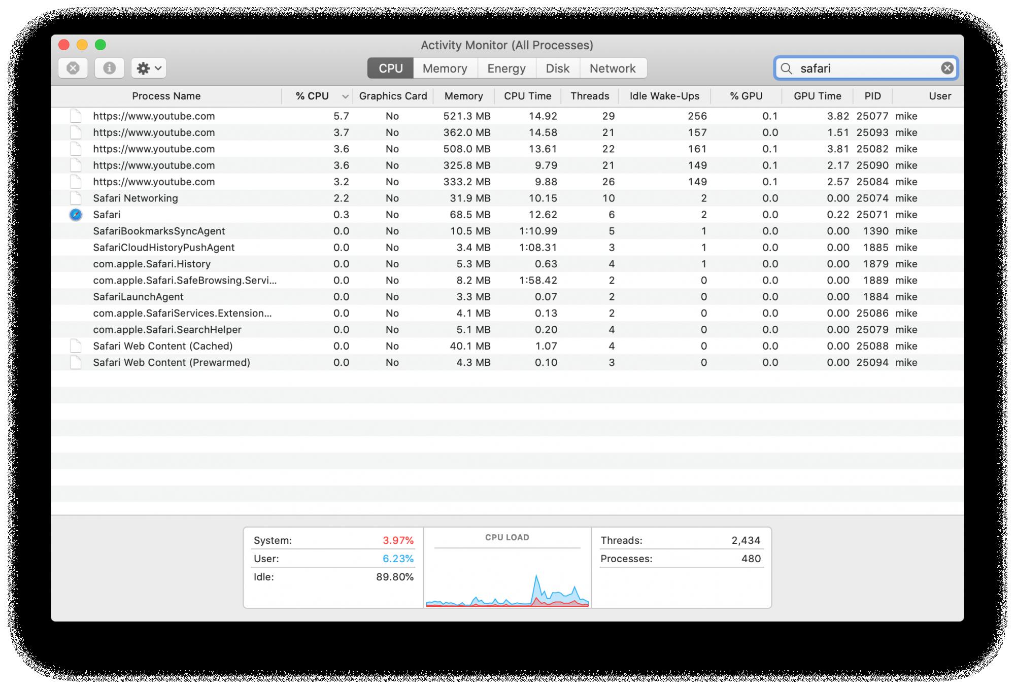 Software to measure memory usage mac shortcut
