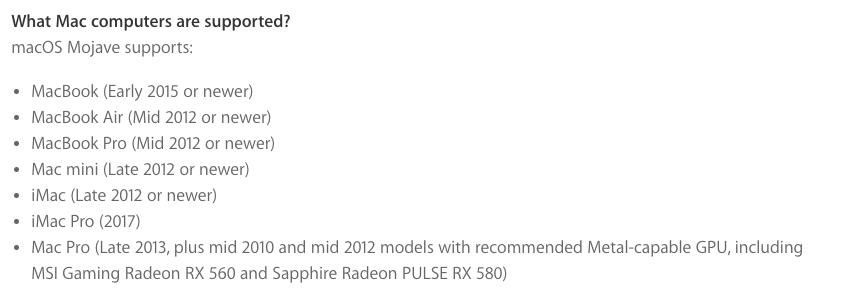 official Mojave Mac Pro Metal GPU card list finally