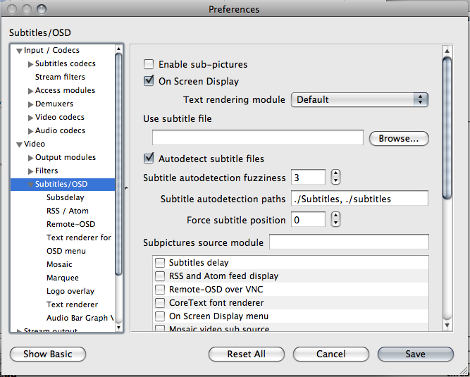 How do you turn off subs in VLC 2 0? | MacRumors Forums