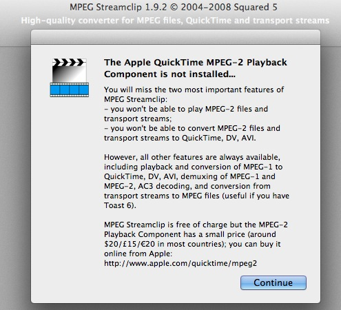free quicktime mpeg-2 playback component for mac os x