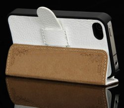 Super thin Genuine Flip Leather iphone 4 Case White 3.jpg