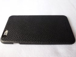 Story Leather Black Pebbled Leather Back Cover for iPhone 6 Plus: Back Left Side View.jpg