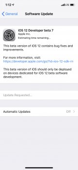 ios 12 update requested