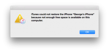 Unable to Restoring from iTunes, due to not enough space
